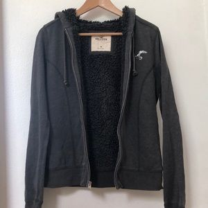 Hollister Zip Up Hoodie Furry Black and Gray